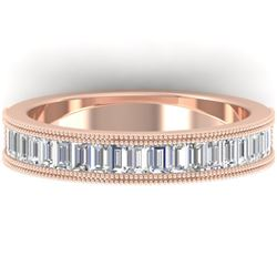 1 CTW Baguette VS/SI Diamond Art Deco Eternity Band 14K Rose Gold - REF-107Y3K - 30316