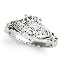 1.35 CTW Certified VS/SI Diamond Solitaire Ring 18K White Gold - REF-498K2W - 27826