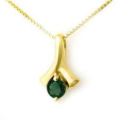 0.25 CTW Emerald Pendant 10K Yellow Gold - REF-14M5H - 12638