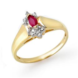 0.22 CTW Ruby & Diamond Ring 10K Yellow Gold - REF-13H3A - 13847