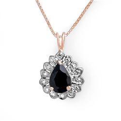 1.10 CTW Blue Sapphire Pendant 18K Rose Gold - REF-19H3A - 13636