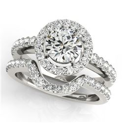 0.96 CTW Certified VS/SI Diamond 2Pc Wedding Set Solitaire Halo 14K White Gold - REF-138T8M - 30774