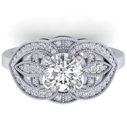 1.5 CTW Certified VS/SI Diamond Art Deco Micro Ring 14K White Gold - REF-376T2M - 30510