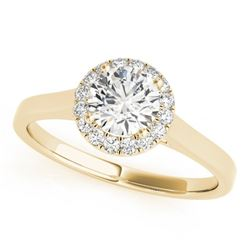 1.11 CTW Certified VS/SI Diamond Solitaire Halo Ring 18K Yellow Gold - REF-319W2F - 26595