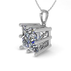 1 CTW VS/SI Princess Diamond Solitaire Necklace 18K White Gold - REF-285Y2K - 35868