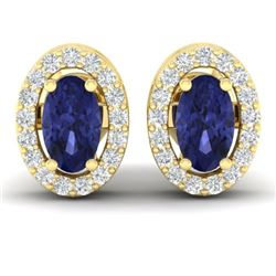 0.70 CTW Tanzanite & Micro Pave VS/SI Diamond Earrings Halo 18K Yellow Gold - REF-30T2M - 21197