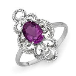 0.80 CTW Amethyst & Diamond Ring 10K White Gold - REF-16A5X - 12568