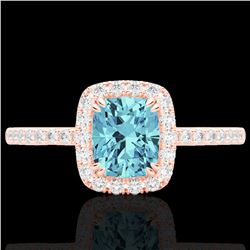 1.25 CTW Sky Blue Topaz & Micro Pave VS/SI Diamond Halo Ring 10K Rose Gold - REF-34X5T - 22913