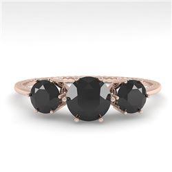 1 CTW Past Present Future Black Certified Diamond Ring 18K Rose Gold - REF-71K3W - 35906