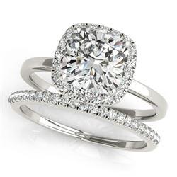1.33 CTW Certified VS/SI Cushion Diamond 2Pc Set Solitaire Halo 14K White Gold - REF-431M3H - 31412
