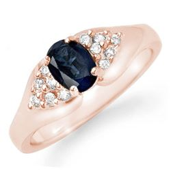 0.90 CTW Blue Sapphire & Diamond Ring 14K Rose Gold - REF-31K8W - 12453