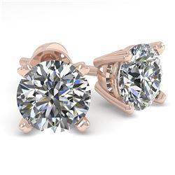 1.0 CTW VS/SI Diamond Stud Designer Earrings 18K Rose Gold - REF-155W3F - 32261