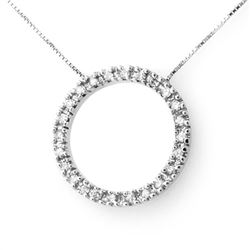 0.33 CTW Certified VS/SI Diamond Necklace 14K White Gold - REF-39A5X - 13810