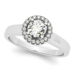 0.90 CTW Certified VS/SI Diamond Solitaire Halo Ring 18K White Gold - REF-188F5N - 26155