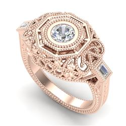 0.75 CTW VS/SI Diamond Solitaire Art Deco Ring 18K Rose Gold - REF-200N2Y - 37044