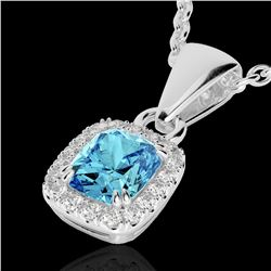 1.25 CTW Sky Blue Topaz & Micro VS/SI Diamond Halo Necklace 10K White Gold - REF-27M3H - 22892