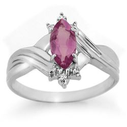 0.51 CTW Amethyst & Diamond Ring 10K White Gold - REF-14W8F - 12449