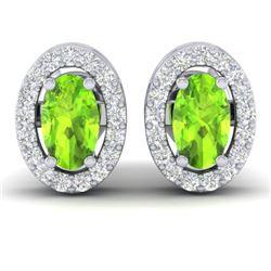 0.75 CTW Peridot & Micro Pave VS/SI Diamond Earrings Halo 18K White Gold - REF-34X5T - 21189