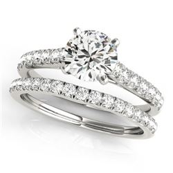 1.38 CTW Certified VS/SI Diamond Solitaire 2Pc Wedding Set 14K White Gold - REF-152T9M - 31697