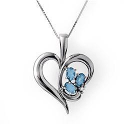 0.87 CTW Blue Topaz & Diamond Pendant 18K White Gold - REF-44M5H - 12783