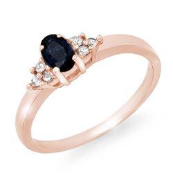 0.42 CTW Blue Sapphire & Diamond Ring 10K Rose Gold - REF-19Y6K - 12331
