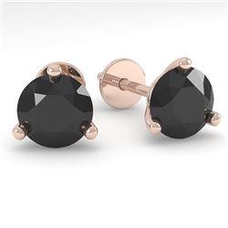 1.0 CTW Black Certified Diamond Stud Earrings Martini 18K Rose Gold - REF-36X9T - 32204