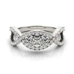 1.01 CTW Certified VS/SI Diamond 2 Stone 2 Stone Ring 18K White Gold - REF-147F6N - 28221