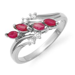 0.40 CTW Ruby & Diamond Ring 14K White Gold - REF-27N8Y - 13148
