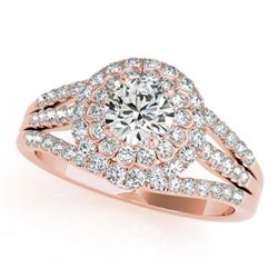 1.25 CTW Certified VS/SI Diamond Solitaire Halo Ring 18K Rose Gold - REF-174X5T - 26576