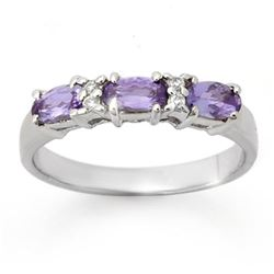 0.82 CTW Tanzanite & Diamond Ring 10K White Gold - REF-22Y8K - 13945