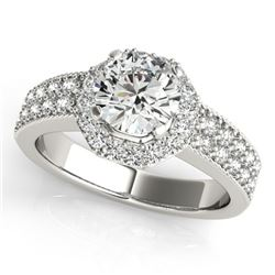 0.9 CTW Certified VS/SI Diamond Solitaire Halo Ring 18K White Gold - REF-143T6M - 27069