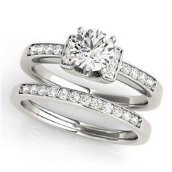 0.76 CTW Certified VS/SI Diamond Solitaire 2Pc Set 14K White Gold - REF-134K5W - 31583