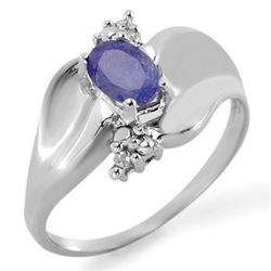 0.54 CTW Tanzanite & Diamond Ring 10K White Gold - REF-20N4Y - 11480