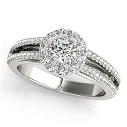 0.75 CTW Certified VS/SI Diamond Solitaire Halo Ring 18K White Gold - REF-130Y5K - 26629