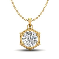 0.82 CTW VS/SI Diamond Solitaire Art Deco Stud Necklace 18K Yellow Gold - REF-218M2H - 37222