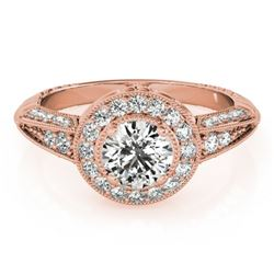 1 CTW Certified VS/SI Diamond Solitaire Halo Ring 18K Rose Gold - REF-147A3X - 26983