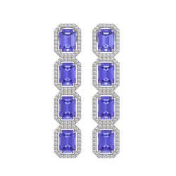 11.93 CTW Tanzanite & Diamond Halo Earrings 10K White Gold - REF-290N2Y - 41435