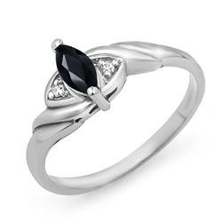 0.26 CTW Blue Sapphire & Diamond Ring 18K White Gold - REF-22Y4K - 12344