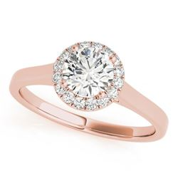 0.58 CTW Certified VS/SI Diamond Solitaire Halo Ring 18K Rose Gold - REF-126T5M - 26588