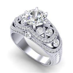 2 CTW VS/SI Diamond Solitaire Art Deco Ring 18K White Gold - REF-581T8M - 37112