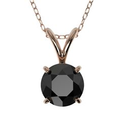 0.75 CTW Fancy Black VS Diamond Solitaire Necklace 10K Rose Gold - REF-22A5X - 33176