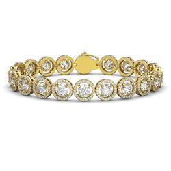 15.36 CTW Diamond Designer Bracelet 18K Yellow Gold - REF-2399W3F - 42673