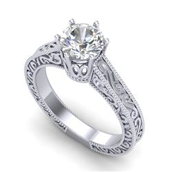 1 CTW VS/SI Diamond Solitaire Art Deco Ring 18K White Gold - REF-330T2M - 36926