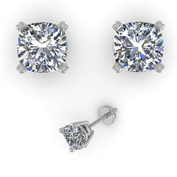 1.02 CTW Cushion Cut VS/SI Diamond Stud Designer Earrings 14K White Gold - REF-148H5A - 32148