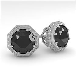 2.0 CTW Black Diamond Stud Solitaire Earrings 18K White Gold - REF-64Y9K - 35979