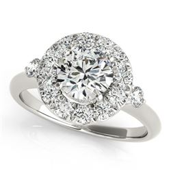 1.25 CTW Certified VS/SI Diamond Solitaire Halo Ring 18K White Gold - REF-222Y2K - 26308