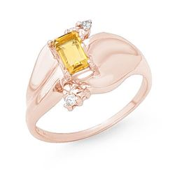 0.72 CTW Citrine & Diamond Ring 10K Rose Gold - REF-24K2W - 13185
