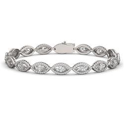 12.16 CTW Marquise Diamond Designer Bracelet 18K White Gold - REF-2256X2T - 42743