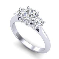 1.5 CTW VS/SI Diamond Solitaire Art Deco 3 Stone Ring 18K White Gold - REF-236K4W - 37313