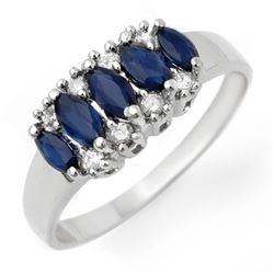 1.02 CTW Blue Sapphire & Diamond Ring 18K White Gold - REF-33X3T - 12960